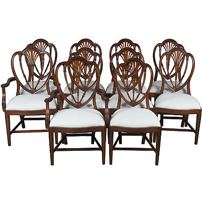Set of 10 Hepplewhite Style Mahogany Dining Room Chairs Shield Back Backs New