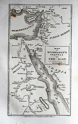 1856 antique MAP Burkhard'ts Travels Syria AFRICA Arabia + text  EXPLORATION