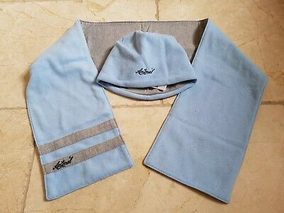 'Animal' Womens Baby Blue/Grey Snowflake Beanie Hat and Matching Scarf. VGC.