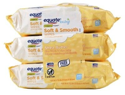 240 Baby Wipes Shea Butter Soft and Smooth 3-packs of 80 Strong Equate Babies