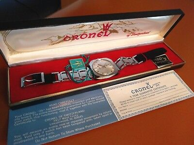 Vintage CRONEL Model 25 Men's Watch NEW OLD STOCK 1960's Stainless Steel WORKS