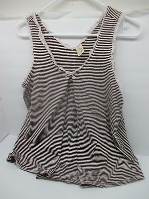 OLD NAVY MATERNITY 100% Cotton Pink & Brown STRIPES & Ruffles Tank Top MEDIUM