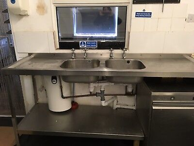 Commercial Catering Kitchen Double Sink With Double Drainer