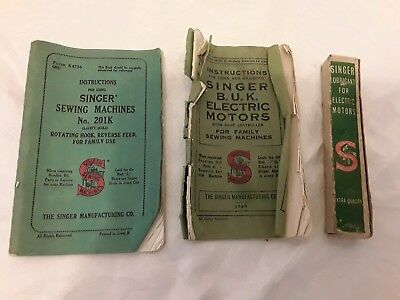 2 Vintage Singer Sewing Machine Munuals + Boxed Lubricant For Electric Motors