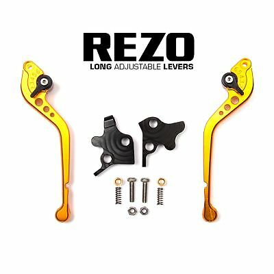 REZO Gold Adjustable Long Brake and Clutch Lever Set for Moto Guzzi Audace 15-18