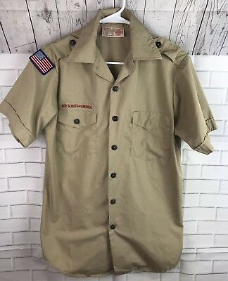 Boy Scouts BSA Beige Uniform Shirt Mens Small S Embroidered Short Sleeve