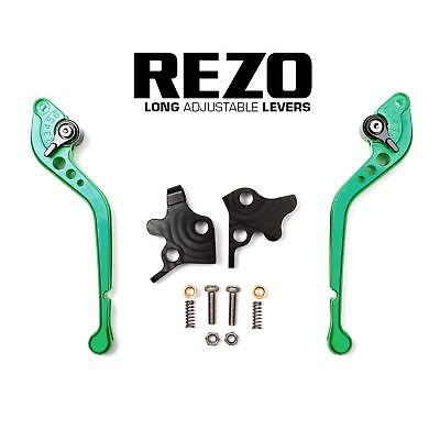 REZO Green Adjustable Long Brake and Clutch Lever Set for Ducati 848 Evo 07-13