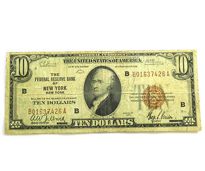 1929 $10 Dollar Federal Reserve Bank of (NEW YORK, NY) National Currency AUCTION