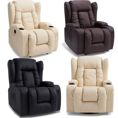 Electric Recliner Armchair Soft Real Leather Sofa Chair with Foam Armrests New