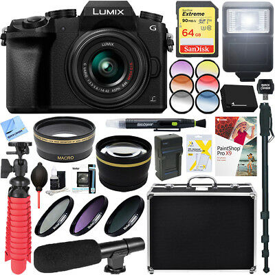 Panasonic LUMIX G7 Mirrorless Digital Camera (Black) 14-42mm Lens + 64GB Bundle