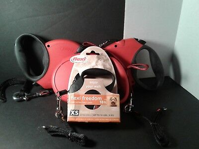 Lot of 5 Flexi dog leashes  NEW OLD STOCK M, XS and 3 RED Appears to Be M Dogs