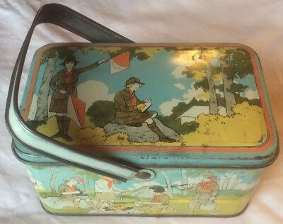 Old Antique Vtg Ca 1930s Beautiful Girl Scout Tin Litho Lunch Pail or Box Great