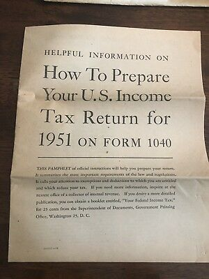 Vintage 1040 Tax Instructions 1951