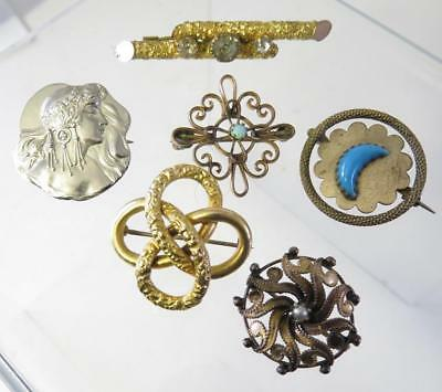 6Pc Lot Of Victorian Collar And Bar Pins Gf Silver