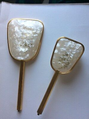 Gold tone and go  Art Deco Hair Brush, , and Hand Mirror Vintage Vanity Set