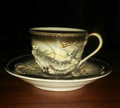 Emerson Japanese Porcelain  Dragon Tea Cup & Saucer Hand Painted ~ Vintage - New