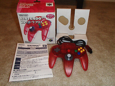Nintendo 64 Red/Clear Controller Japan! N64 Controller Bros! Complete in box!