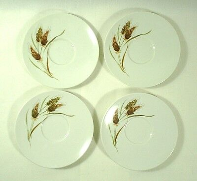 Texas Ware Saucer Plates Wheat Straw Set of 4 Vintage
