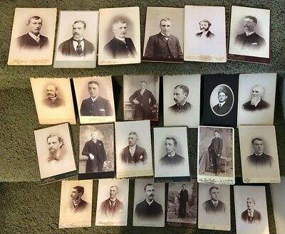 CABINET CARD,Vintage Photos, Lot of 24, all men, Assorted locations