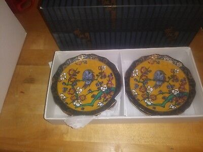 Antique Kutani  bird plate 5pcs Japan