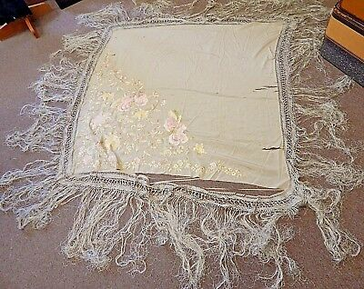 Antique/Vintage Embroidered Silk Piano Shawl/Table Cloth, Long Fringe, TLC
