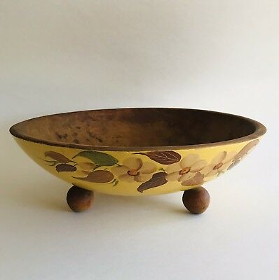 Antique Ball Footed Wooden Fruit Bowl Hand Painted Flowers Beautiful Patina