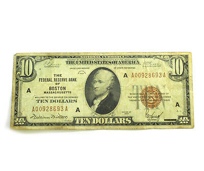 1929 $10 Dollar Federal Reserve Bank of (BOSTON, MA) National Currency $1AUCTION