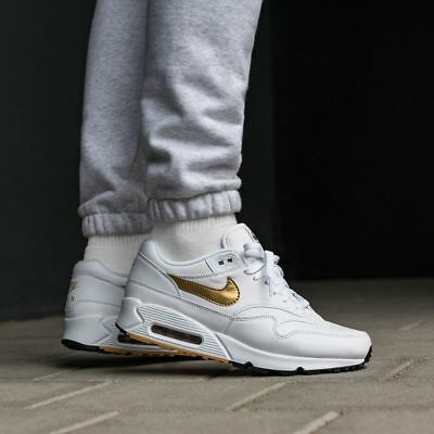 photos officielles 9149e d7327 NIKE AIR MAX 90/ 1 Hommes Blanc or Baskets Basket Sport Série UK Taille 6-12