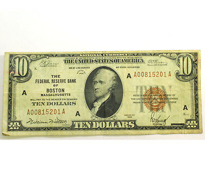 1929 $10 Dollar Federal Reserve Bank of (BOSTON, MA) National Currency AUCTION