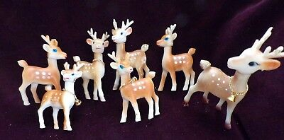 7 Vintage Mid Century Rubber Christmas Reindeer Movable Head & Bell Hong Kong #A