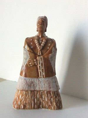 Native American Indian Alabaster Sculpture Signed HJ Navajo Statue art 4""