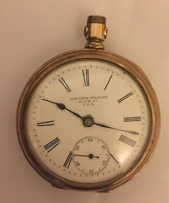 Antique New York Standard Watch Co USA Pocket Watch For Spares Or Repair