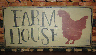"PRIMITIVE  COUNTRY FARM HOUSE  12"" SIGN antique whitew/ chicken"