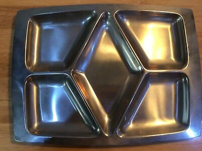 Vintage Mid Century Lundtofte Denmark Stainless Steel Five Section Serving Tray