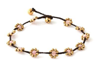 MGD, Pink Rose Quartz Color Bead and Brass Bell Anklet. Beautiful Handmade Brass