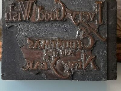 Vintage Printing Block Copper Every Good Wish For Christmas + The New Year Card