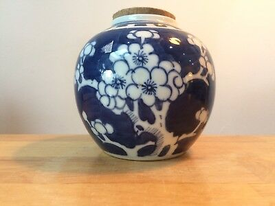 Antique Chinese Ginger Jar Blue & White Prunus Blossom - Kangxi Mark with Lid