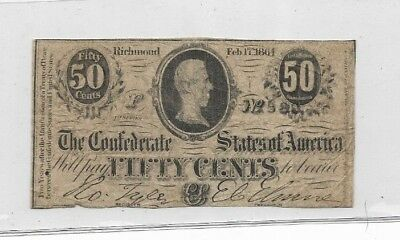 "50 Cent (Confederate Note) ""black Serials"" 1800's ""50 Cent"" (Actual Autographs)"
