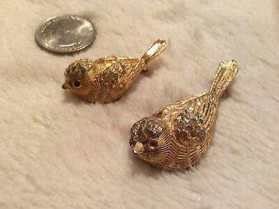 Vintage Set of Two Bird Brooches in Gold Tone from Estate Collection