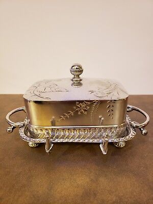 Vintage Barbour Bros Silver Plate Covered Butter Dish