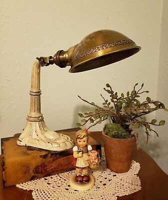 """1920's Vintage Cast Iron """"Sun-Ray"""" Table or Desk Lamp Base with a """"Greist"""" Shade"""