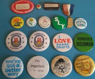 17 Rare Vintage Pin Back Buttons And Ribbon Pins some WW2 1940's Celluloid
