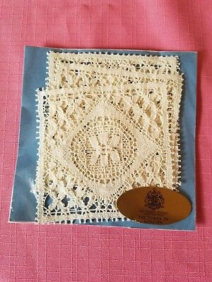Four Genuine Nottingham Lace coasters in original package.