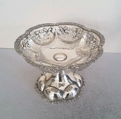 Lge. Quality Ant. Solid Silver Pierced / Lobed Comport.   421Gms.    Chest.1909.