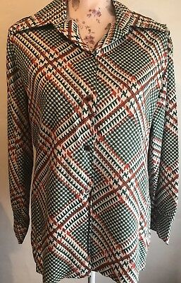 Vintage 1960's Ivory Print Long Sleeve Shirt Blouse Top Contemporary Theater SM