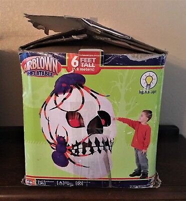 GEMMY 6FT HALLOWEEN INFLATABLE AIRBLOWN SKULL W/ SPIDER PARTS OR REPAIR
