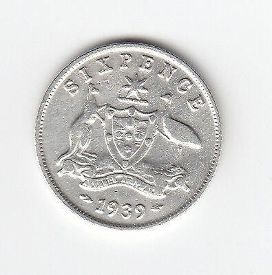 1939 Kgvi Australia Sixpence (92.5% Silver) - Very Nice Vintage Coin