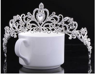 5.5cm High Heart Crystal Crown Wedding Bridal Party Pageant Prom Tiara