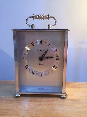 Original Rare Vintage Western Germany Silver Tone Staiger Carriage Clock Quartz