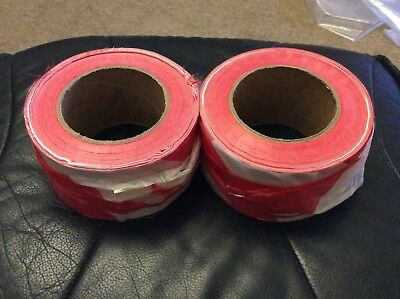 Barrier tape. Red and white. Non adhesive. 2 rolls. Hazard warning tape. £3